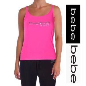 Bebe pink tank top women's large NWT athletic wear